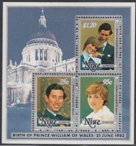 Niue 1982 MH Sc #359B Souvenir sheet of 3 Prince William's Birth