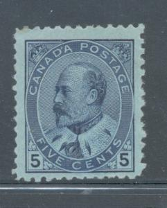Canada Sc 91 1903 5 c blue Edward VII stamp mint