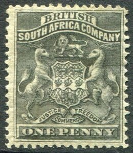 RHODESIA-1892-93 1d Black Sg 1 MOUNTED MINT V48408