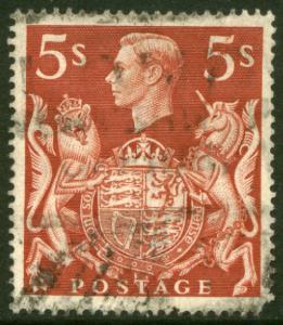 G.B. 250, 5sh King George VI. Used.F-VF.  (55)