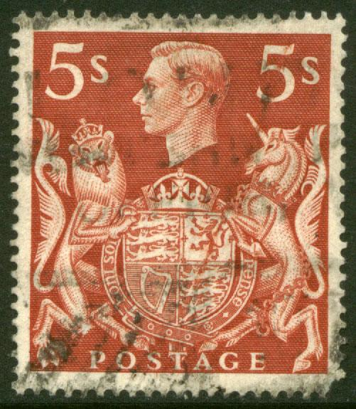 G.B. 250, 5sh King George VI. Used. (55)