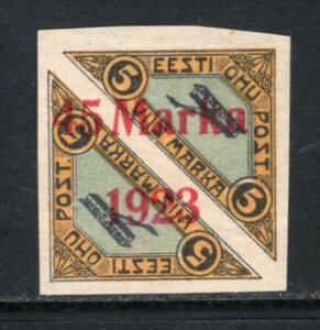 Estonia 1923 Airmail 45 Marka Surcharge Imperf Mint H #C6