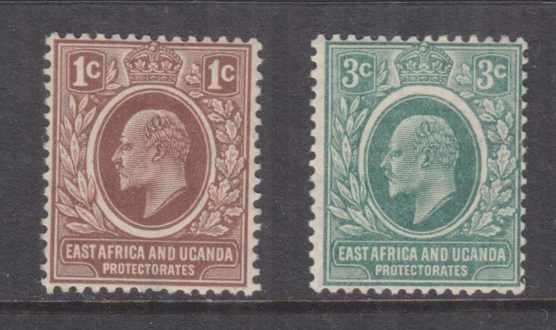 KENYA & UGANDA, 1907 KEVII, 1c. Brown & 3c. Grey Green, heavy hinged mint.