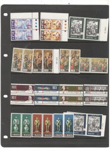 MALTA COLLECTION ON STOCK SHEET, ALL MINT, MOSTLY MNH