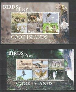 MV45 2018 !!! EXCLUSIVE COOK ISLANDS FAUNA BIRDS OF PREY EAGLES OWLS 2KB MNH