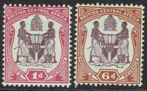 BRITISH CENTRAL AFRICA NYASALAND 1901 ARMS 1D AND 6D */**