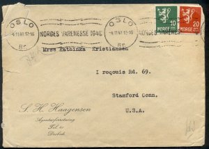 NORWAY 1940 cover to U.S. w/German censor tape, VF
