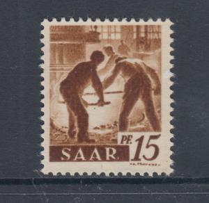 Saar Mi 212ZG MNH. 1947 Workers, Printed on Gum Side