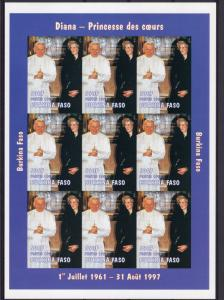 Burkina Faso 1997 Sc#1127 POPE JOHN PAUL II and DIANA Sheetlet IMPERFORATED MNH