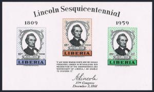 Liberia 386a sheet,MNH.Michel Bl.14. Abraham Lincoln,150 birth Ann.1959.