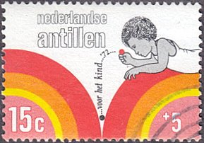 Netherlands Antilles # B119 used ~ 15¢ + 5¢ Child At Play