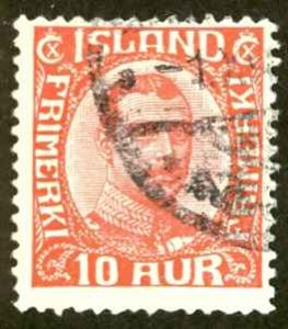 Iceland Sc# 115 Used 1920-1922 10a Christian X