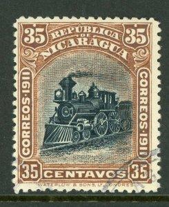 Nicaragua 1912 Bluefields Waterlow Train 35¢ Brown Scott 1L119 VFU W476