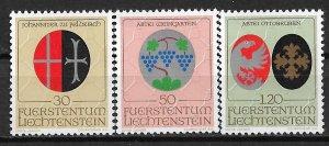 1971 Liechtenstein 486-88 Ecclesiastic Arms MNH C/S of 3