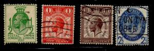 Great Brirain Sc 205-8 1929 Postal Union Congress stamp set used