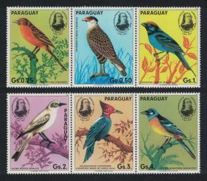 Paraguay Birds Birth Bicentenary of. Audubon 6v two strips SC#2141