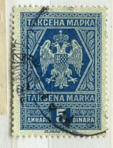 YUGOSLAVIA; Early 1900s classic Fiscal Revenue issue fine used 5d. value