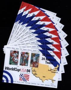 US Scott 2837 TEN Soccer World cup 1994 Souvenir Sheets Mint NH (WHOLESALE)