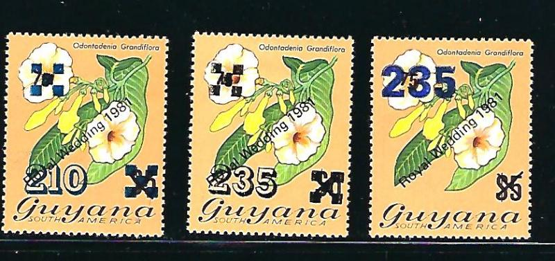 Guyana Scott #493, 495 & 495a, Unused, never hinged