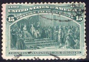 US Stamp #238 USED SCV $72.50