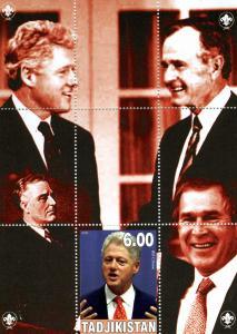 TADJIKISTAN 2000 G.W. Bush & Bill Clinton s/s Perforated  mnh.vf