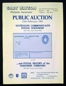 Auction Catalogue AUSTRALIAN COMMONWEALTH POSTAL STATIONERY CARL STEIG