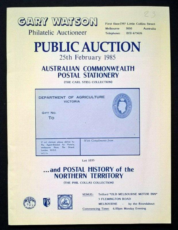 Auction Catalogue AUSTRALIAN COMMONWEALTH POSTAL STATIONERY CARL STEIG