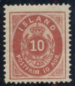 ICELAND #11v, 10aur carmine, Rare Shade Pr. V, VLH