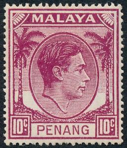 Malaya Penang 1949 10c Purple SG11 MH
