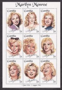Gambia #1601 ms/sheet of 9 F-VF Mint NH ** Marilyn Monroe