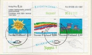 Finland Sc  871 1991 Children's Stamp designs stamp sheet used