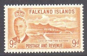 Falkland Is Scott 114 - SG179, 1952 George VI 9d MH*