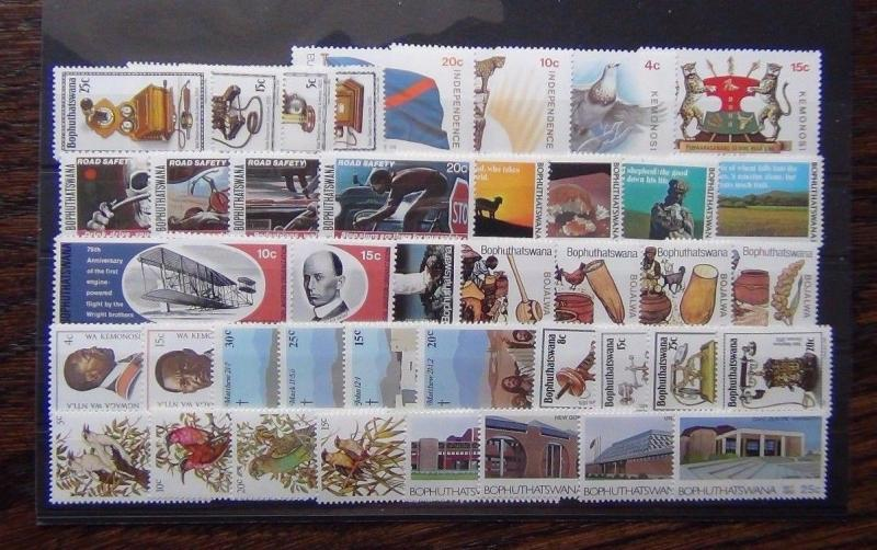 Bophuthatswana 1977 1982 sets Easter Beer Birds Telephone Road Safety Flight MNH