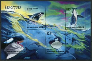Niger MNH S/S Orcas Killer Whales Marine Life 2015 4 Stamps