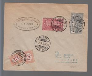 1926 Italy First FLight Cover FFC Trieste to Turin Postage Due # C 4 Sassone 55