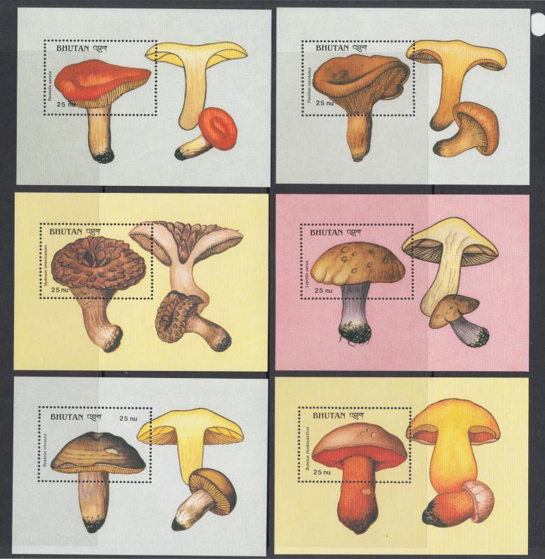 Bhutan Sc 713-736 MNH. 1989 Mushrooms, cplt set, 12 stamps & 12 souv sheets, VF