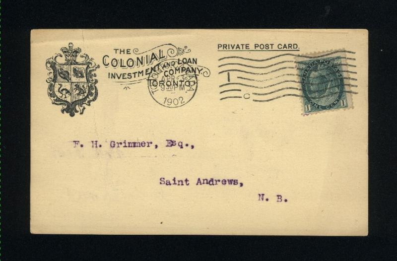 Canada #75   Post card  used  1898-1902 PD