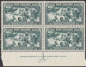NEW ZEALAND 1940 Centenary ½d plate block MNH...............................4173