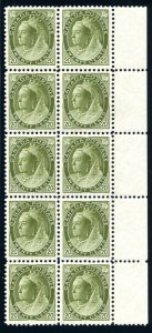 CANADA: Sc.#84  **  20¢ Olive Green, SPECTACULAR right sheet margin block of...