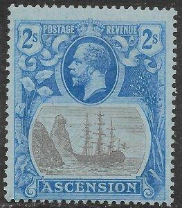 ASCENSION SG19a 1924 2/= GREY-BLACK & BLUE ON BLUE BROKEN MAINMAST VAR MTD MINT