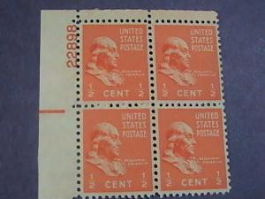 U.S.# 803-MINT/NEVER HINGED---UL- PLATE # BLOCK 4-PREXIE SERIES-1938(#B)