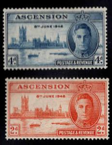 ASCENSION  Scott 50-51 MNH** WW2 peace set