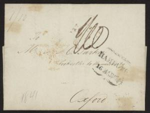 1841 Austria Stampless folded ltr on gilt-edged paper to Oxford UK (bookseller)
