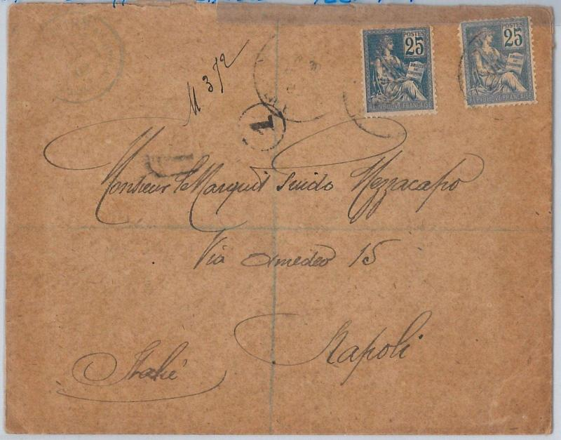 FRANCE -  POSTAL HISTORY: Yvert # 114  2 tones PERFIN on  COVER to ITALY  1902