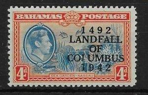 BAHAMAS SG168a 1942 LANDFALL 4d COIUMBUS VAR MTD MINT