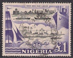 Nigeria 1953 - 58 QE2 £1 Violet & Black Used SG 80 ( K119 )