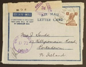 1943 Comilla India to Northern Ireland Censorship Air Mail Letter Card Cover