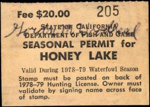 CALIFORNIA  #A23 1978 HONEY LAKE STAMP USED d107
