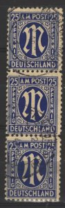 COLLECTION LOT # 4931 GERMANY #3N13 1945+ STRIP OF 3 CV+$33