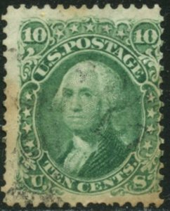 US  Sc#68 1861 10c Green Avg-F Used with Stain